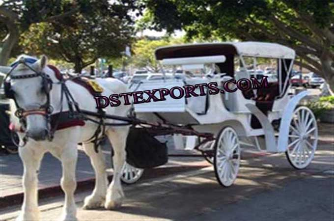 Wedding White Covered Victoria Carriages