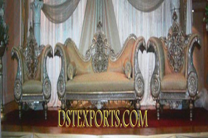 Wedding Silver Carved Metal Sofa Set For Sale
