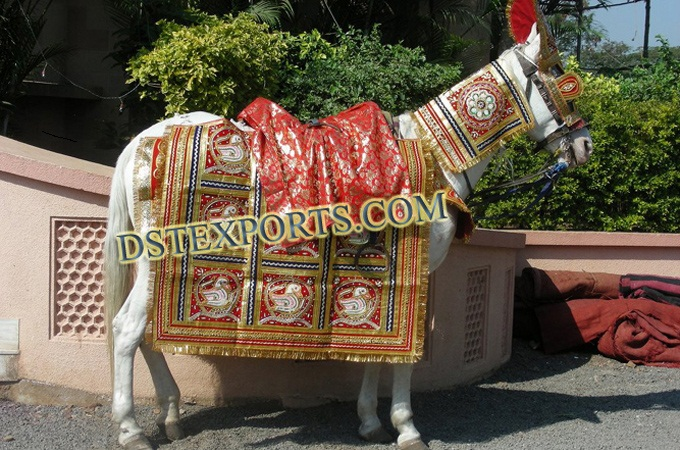 Indian Wedding Red Golden Ghodi Costumes
