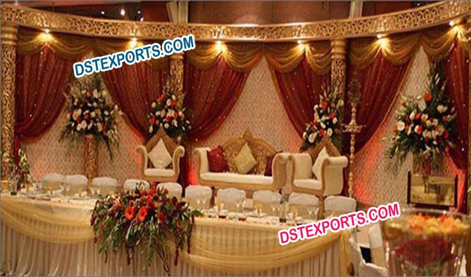 Muslims Wedding Golden Carved Stage