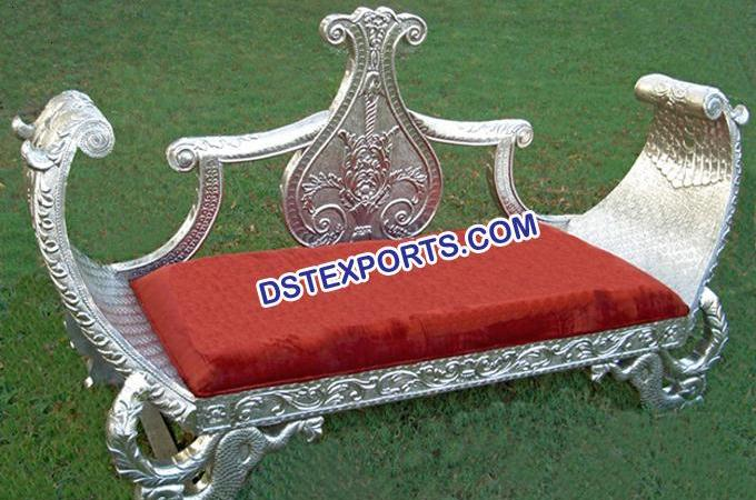 Asian Wedding Silver Metal Carved Love Seater