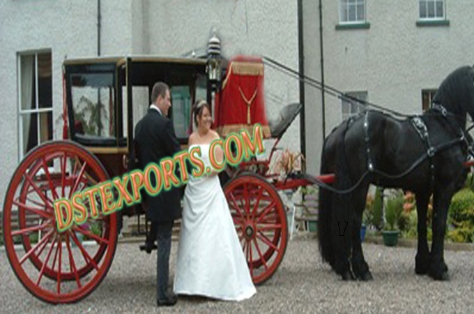 Wedding Black Covered Horse Carriage