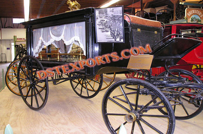 Beautiful Black Glass Covered Funeral Carriage