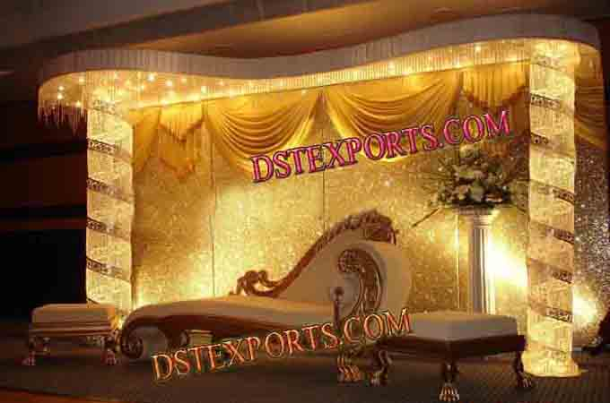 Latest Asian Wedding Royal Crystal Stage With Sofa