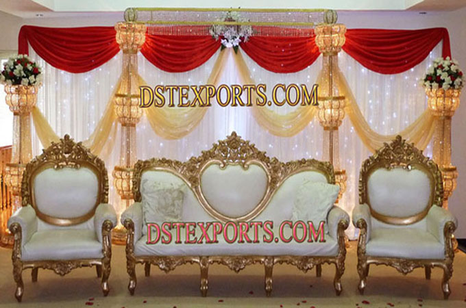 Asian Wedding Crystal Gold Stage With Furniture