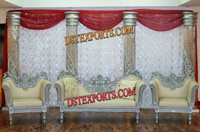 Latest Asian Wedding Silver Stage With Sofa Set