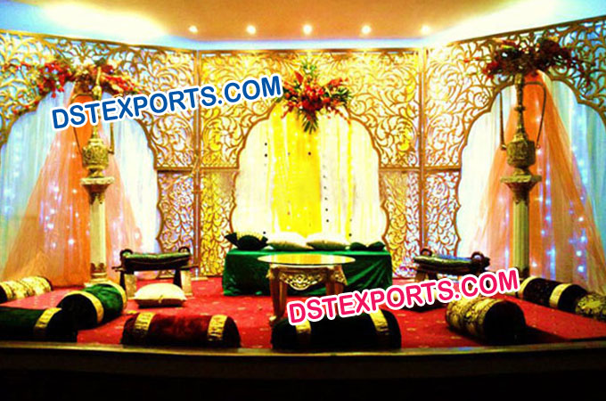 Latest Muslim Mehndi Stage With Carved Backdrops