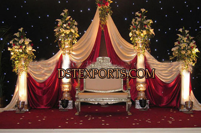 Wedding Reception Stage With Silver Sofa