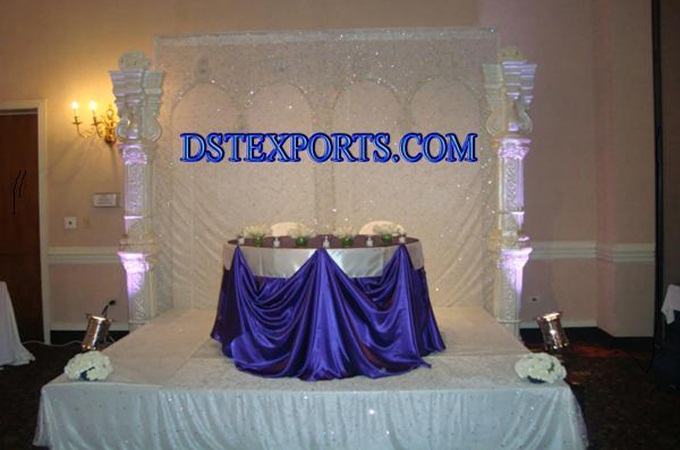Latest Indian Wedding Decorated Silver Stage
