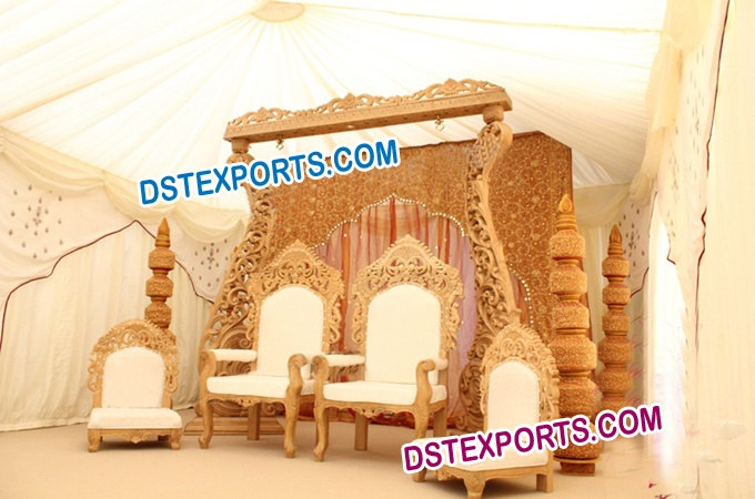 Indian Wedding Wooden Carved Stage
