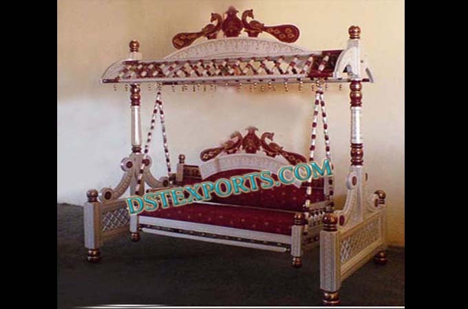 Indian Wedding Red Silver Royal Jhula