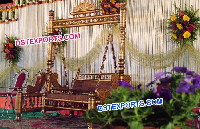 Wedding Copper Jhula With Mehroon Carving