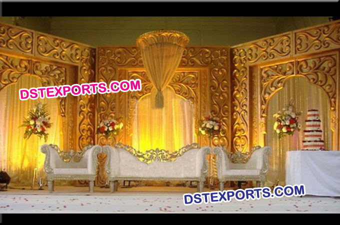 Asian Wedding Stage With Backdrop Panels