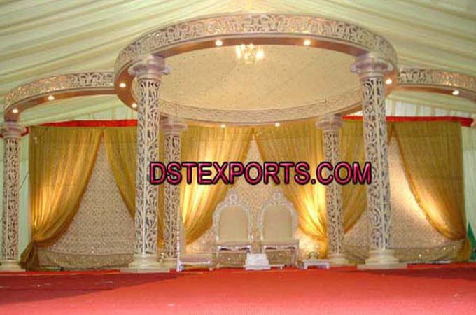 Wedding Six Pillars Fiber Mandap Stage