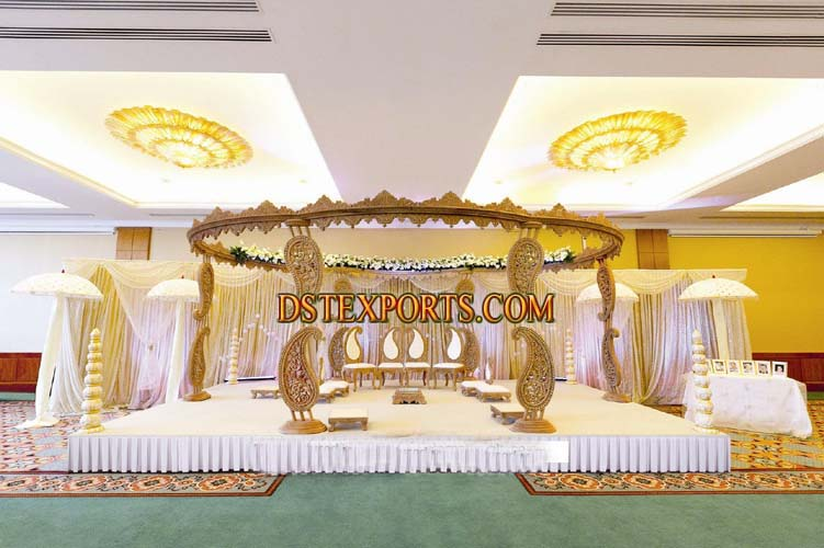 Wedding Wooden Carved Paisley Mandap