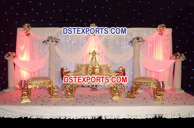 Asian Wedding Gold King Sofa Set
