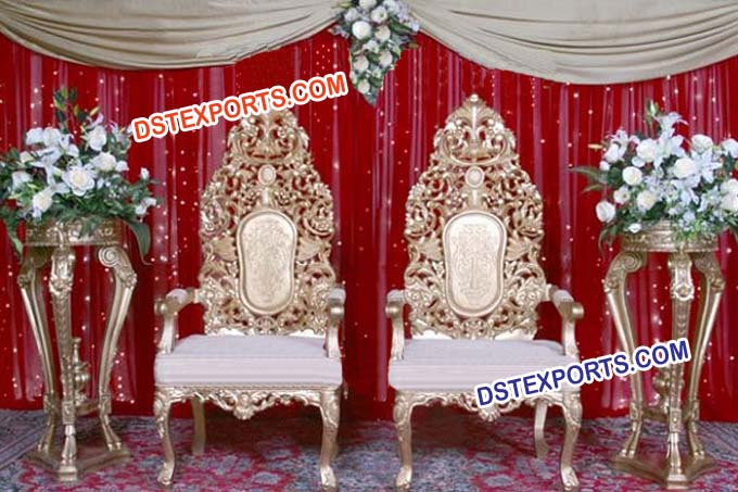 Muslim Wedding Heavy Carving Golden Chairs