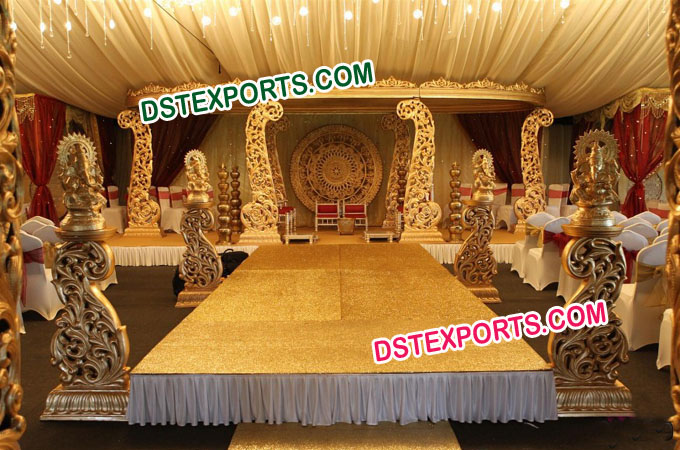 Indian Wedding Wooden Carved Mandap