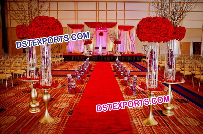 Aisleway Crystal Pillars For Wedding Walkway