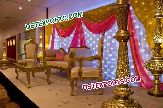 Royal Pakistani Wedding Stage With Furniture