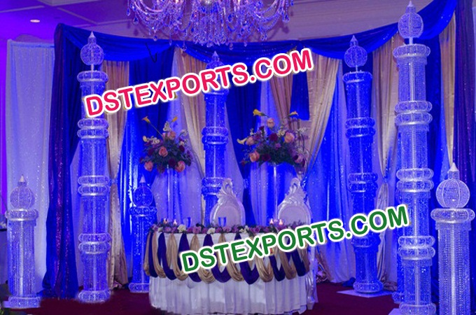 Wedding Stage Metal Crystal Pillars Decoration