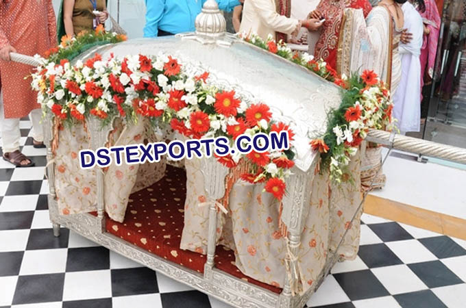 Royal Indian Wedding Decor Silver Palki