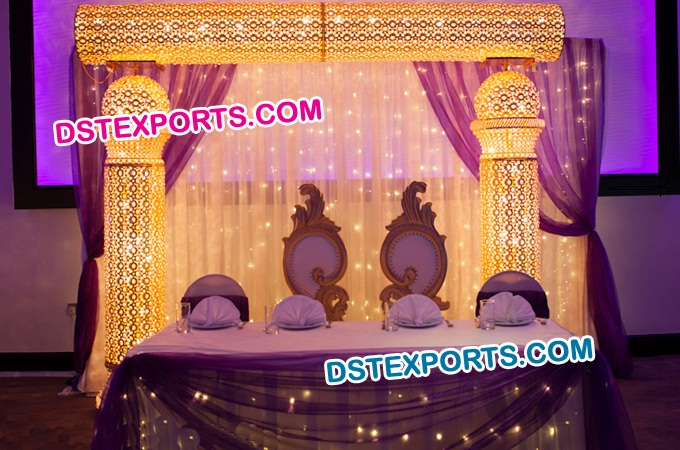 Asian Wedding Gold Crystal Stage Set