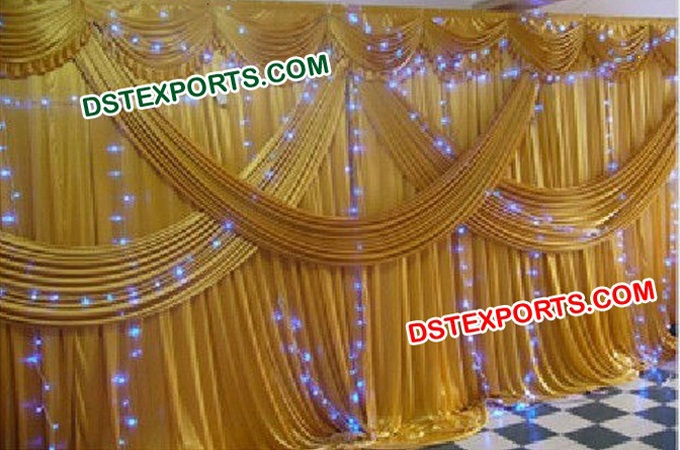 Indian Wedding Gold Backdrop Curtains