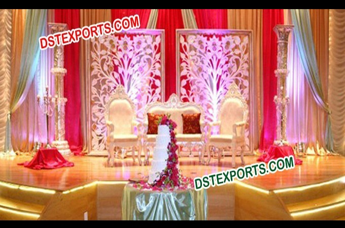 Wedding Stage With Flower Backdrop Decors