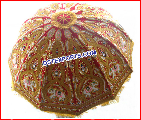 Wedding Embrodried Red Gold Umbrella