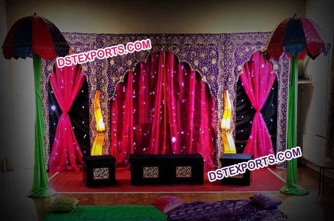 Wedding Mandaps Embrodry Jhrokha Backdrop