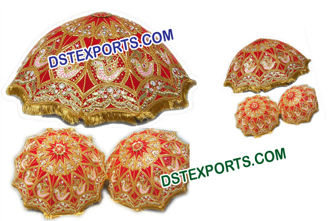 Wedding Red & Gold Embroidered Parsol