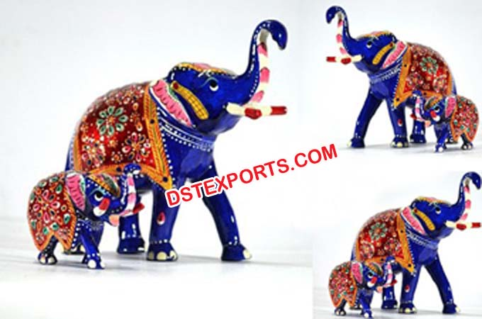 Metal Statue Hand Painted Elephant Sculpture