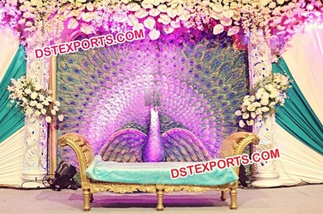 Wedding Fiber Backdrop Peacock Theem Stage Panel