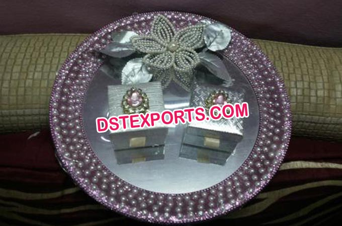 Decorated Crystal Ring Ceremony Wedding Thaal