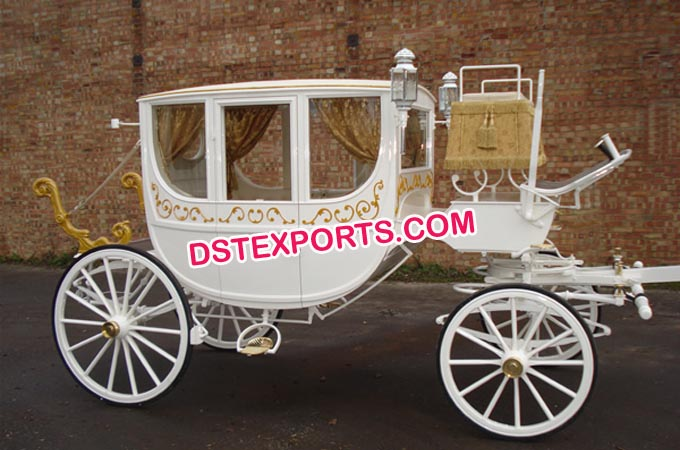 Wedding White Covered Horse Drawn Carriage
