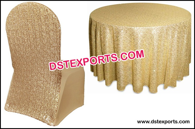 Wedding Gold Glitter Chair Cover and Tablecloth