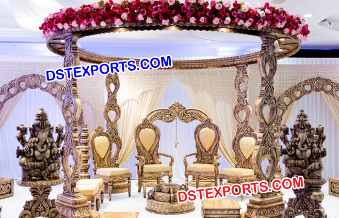 Wooden Carved Wedding Mandap