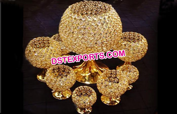 Gold Beaded Crystal Centerpiece