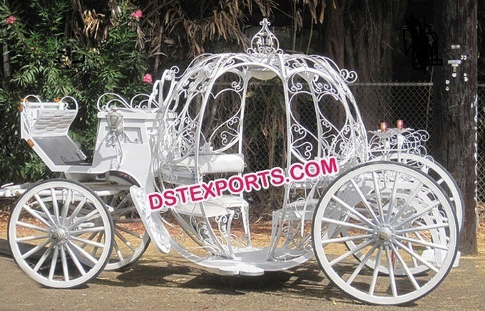 White Cinderella Glass Covered Carriage