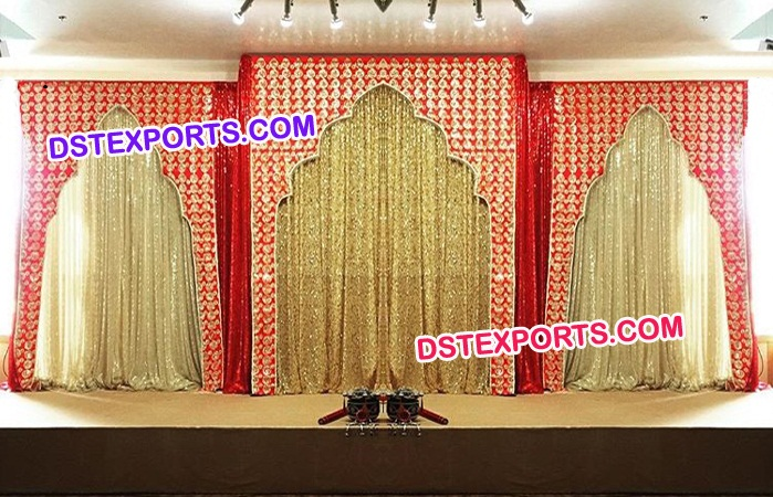 New Design Red Embroidered Temple Backdrop
