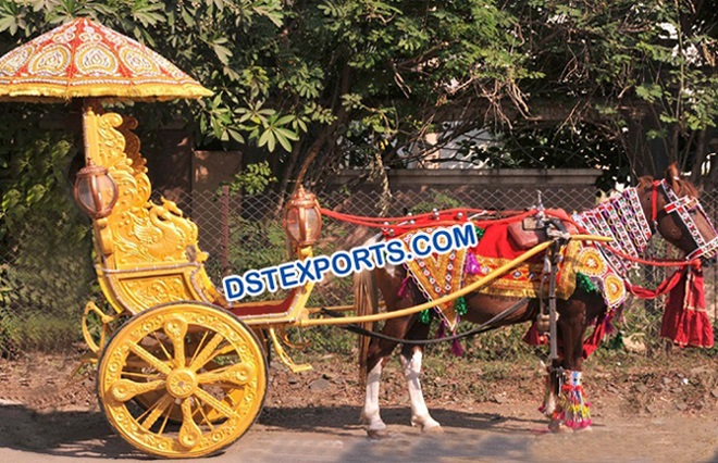 Golden Indian Wedding Horse Cart