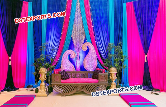 Colourful Wedding Night Mehandi Stage