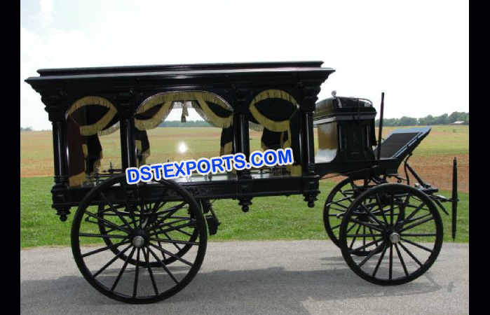 Black Funeral Horse Carriage