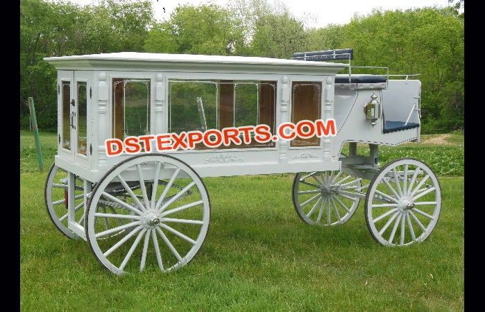 White Hearse Funeral Carriage