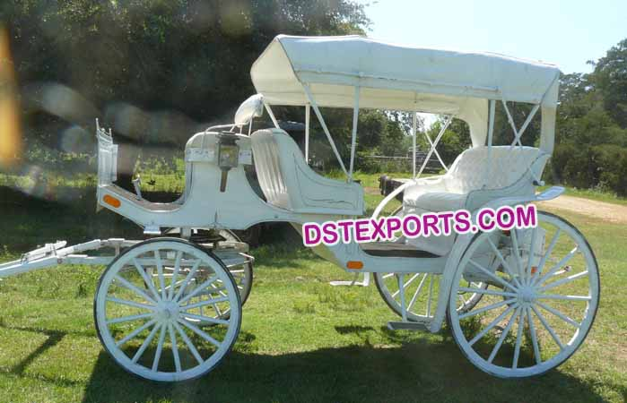 White Two Seater Limousine Horse Carriage