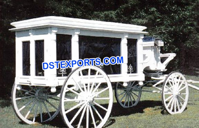 White Funeral Horse Drawn Carriage