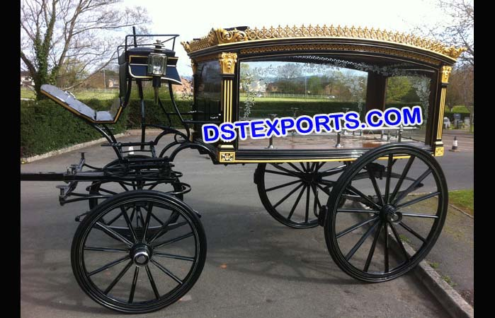 Black Funeral Horse Drawn Carriages Buggy