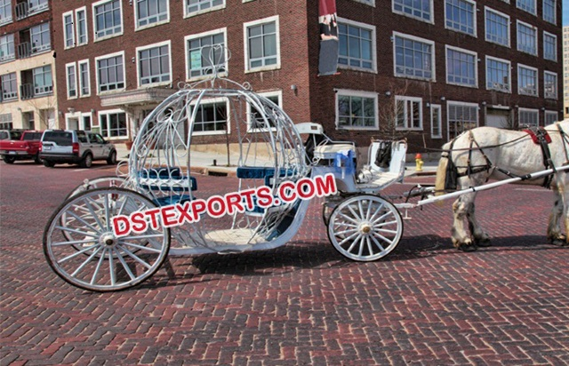White Cinderella Wedding Horse Carriage