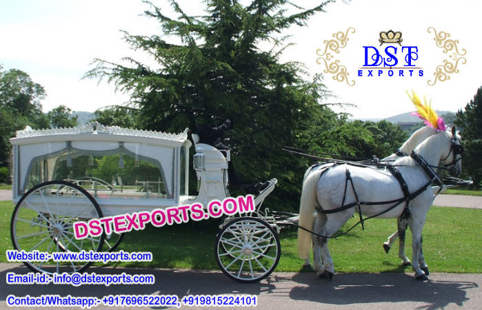 White Funeral Horse Carriage Buggy
